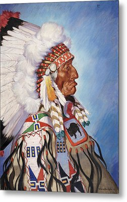 A Portrait Of 95-year Old Sioux Chief Metal Print by W. Langdon Kihn