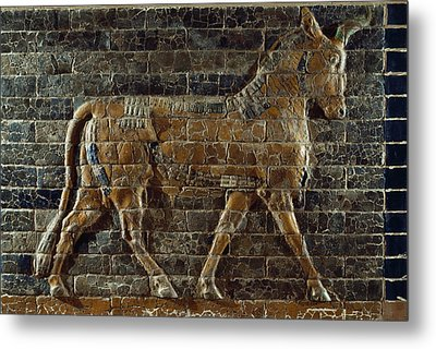 A Relief Depicts A Bull Metal Print by Lynn Abercrombie