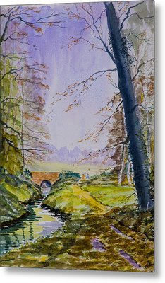 Metal Print featuring the painting A River Flows Gently by Rob Hemphill
