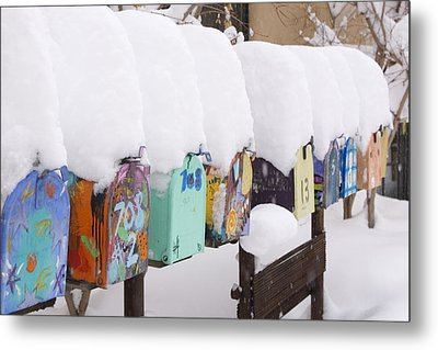 A Row Of Mailboxes In Winter Metal Print by Ralph Lee Hopkins
