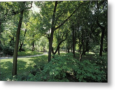 A Scenic And Shady Central Park Garden Metal Print by Jason Edwards
