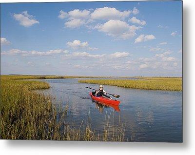A Sea Kayaker And Fisherman Paddles Metal Print by Skip Brown