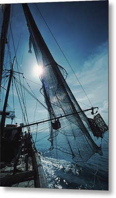 A Shrimping Boat Off The Coast Metal Print by Ira Block