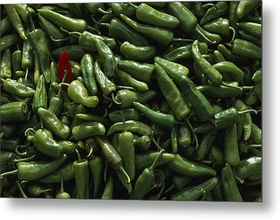 A Single Red Pepper Surrounded By Green Metal Print by James L. Stanfield