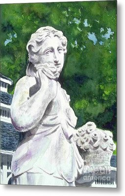Metal Print featuring the painting A Statue At The Wellers Carriage House -1 by Yoshiko Mishina