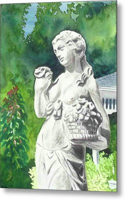 Metal Print featuring the painting A Statue At The Wellers Carriage House -2 by Yoshiko Mishina