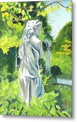 Metal Print featuring the painting A Statue At The Wellers Carriage House -3 by Yoshiko Mishina