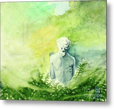 Metal Print featuring the painting A Statue At The Wellers Carriage House -5 by Yoshiko Mishina