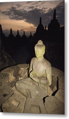 A Statue Of Buddha,  Borobudur, Java Metal Print by Paul Chesley