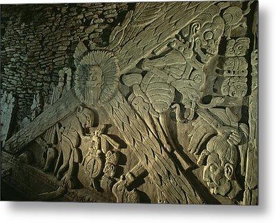 A Stucco Mural Showing The Maya Turtle Metal Print