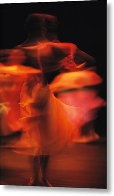 A Time-exposed View Of A Performance Metal Print by Michael Nichols