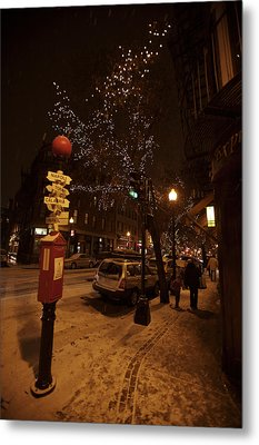 A Winter Evening In Bostons North End Metal Print by Tim Laman