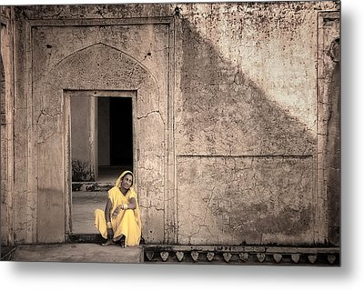 A Woman In Yellow Dress Metal Print by Mostafa Moftah