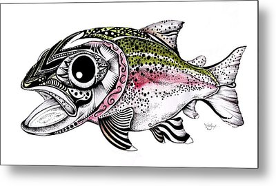 Abstract Alaskan Rainbow Trout Metal Print by J Vincent Scarpace