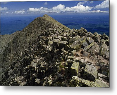 Abutting The Clouds, Hikers Rest Atop Metal Print