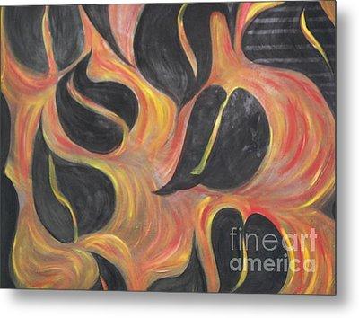Aces Of Spades On Fire Metal Print by Rachel Carmichael