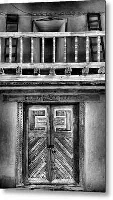 Adobe Church Door And Balcony Metal Print by Steven Ainsworth