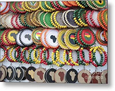African Beaded Earrings Metal Print by Neil Overy