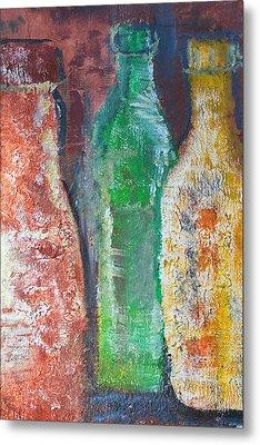Aged Bottles Metal Print by Janice Gelona