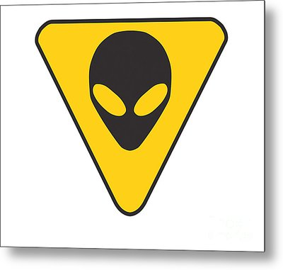 Alien Grey Hazard Graphic Metal Print by Pixel Chimp