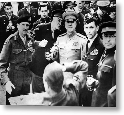 Allied Leaders Drink A Victory Toast Metal Print by Everett
