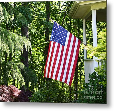 Metal Print featuring the photograph American Flag At Home by Denise Pohl
