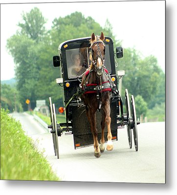 Amish Buggy On The Road Metal Print by Emanuel Tanjala