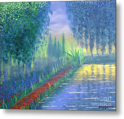 Metal Print featuring the painting An Artist's Garden by Stacey Zimmerman