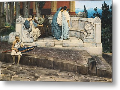 An Exedra Metal Print by Sir Lawrence Alma-Tadema