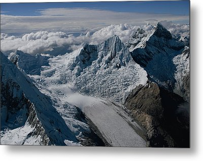 An Icy Ravine Between Glacial Peaks Metal Print by Bobby Haas