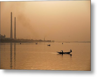 Metal Print featuring the photograph An Industrial Sunset by Fotosas Photography