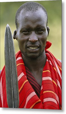 An Informal Portrait Of A Masai Warrior Metal Print by Michael Melford