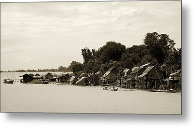 An Island Village On River Irrawaddy Metal Print by RicardMN Photography