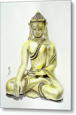 Metal Print featuring the painting An Orient Statue At Toledo Art Museum - Ohio-3 by Yoshiko Mishina