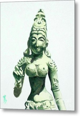 Metal Print featuring the painting An Oriental Statue At The Toledo Museum Of Art-4 by Yoshiko Mishina