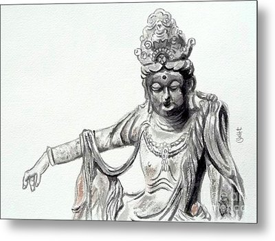 Metal Print featuring the painting An Oriental Statue At Toledo Art Museum - Ohio- 2 by Yoshiko Mishina