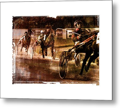 Metal Print featuring the photograph and the winner is - A vintage processed Menorca trotting race by Pedro Cardona