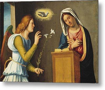 Annunciation To The Virgin Metal Print by Giovanni Battista Cima da Conegliano