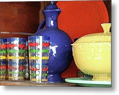 Antique Fiesta Dishes 3 Metal Print by Marilyn West