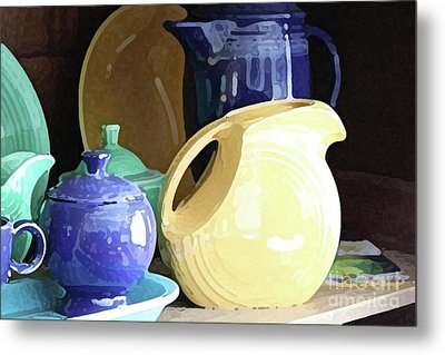 Antique Fiesta Dishes II Metal Print by Marilyn West