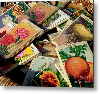 Antique French Seed Packs Metal Print