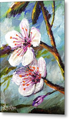 Metal Print featuring the painting Apple Blossoms by Lou Ann Bagnall