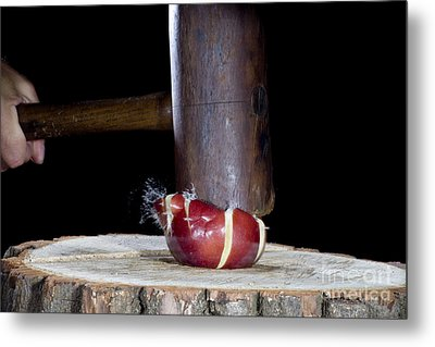Apple Smashed With Mallet Metal Print by Ted Kinsman