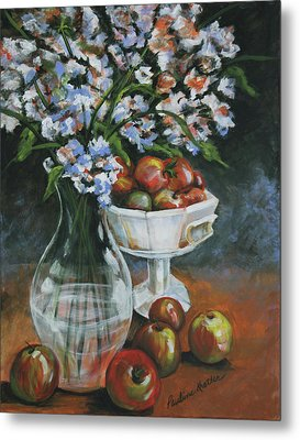 Apples And Flowers Metal Print