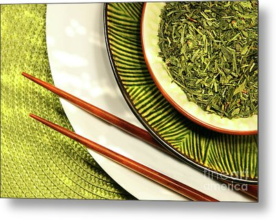 Asian Bowls Filled With Herbs Metal Print by Sandra Cunningham