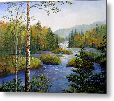 Metal Print featuring the painting Autum In Michigan by Lou Ann Bagnall