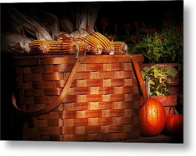 Autumn - Gourd - Fresh Corn Metal Print by Mike Savad