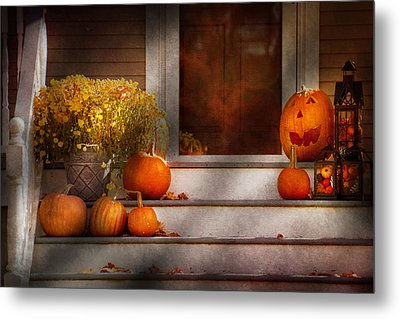 Autumn - Halloween - We're All Happy To See You Metal Print by Mike Savad