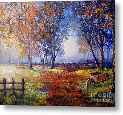 Metal Print featuring the painting Autumn Wheelbarrow by Lou Ann Bagnall