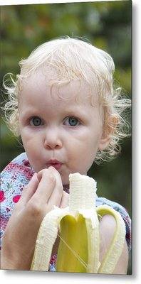 Baby And Banana Metal Print by Holst Photography